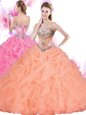 Adorable Orange Red Lace Up Sweetheart Beading and Ruffles Quinceanera Gown Tulle Sleeveless