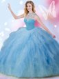 Custom Designed Blue Sleeveless Beading and Ruffles and Sequins Floor Length Sweet 16 Dress