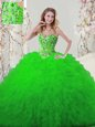 Glorious Sweetheart Lace Up Embroidery and Ruffles Quinceanera Gowns Sleeveless