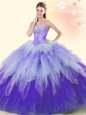 Super Three Piece Scoop Sleeveless Lace Up Quinceanera Dress Champagne Organza and Tulle