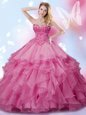 Affordable Beading Vestidos de Quinceanera Rose Pink Lace Up Sleeveless Floor Length