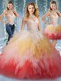 Tulle Halter Top Sleeveless Lace Up Beading and Ruffles 15 Quinceanera Dress in Multi-color