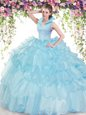 Baby Blue Organza Backless 15 Quinceanera Dress Sleeveless Floor Length Beading and Ruffled Layers