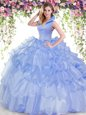 Ruffled Floor Length Ball Gowns Sleeveless Blue Quince Ball Gowns Backless