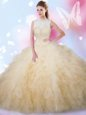 High-neck Sleeveless Ball Gown Prom Dress Floor Length Beading and Ruffles Champagne Tulle