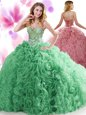 Coral Red Sleeveless Beading and Ruffles Floor Length Sweet 16 Dress