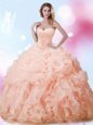 Admirable Sleeveless Brush Train Beading and Ruffles and Pick Ups Lace Up Sweet 16 Dresses