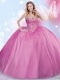 Romantic Scoop Sleeveless Quince Ball Gowns Floor Length Beading and Ruffles Hot Pink Tulle