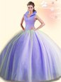 High-neck Sleeveless Backless Sweet 16 Dress Lavender Tulle