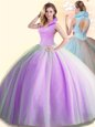 Beauteous Lilac High-neck Backless Beading 15th Birthday Dress Sleeveless