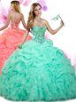 Graceful Floor Length Apple Green Ball Gown Prom Dress Organza Sleeveless Beading and Ruffles and Pick Ups