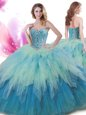 White And Purple Ball Gowns Tulle High-neck Sleeveless Beading and Ruffles Floor Length Zipper Quinceanera Gown