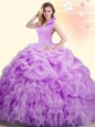 Chic Beading and Appliques and Pick Ups Quinceanera Gown Lilac Backless Sleeveless Floor Length