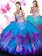 Luxury Purple Sleeveless Tulle Lace Up Quinceanera Dress for Military Ball and Sweet 16 and Quinceanera