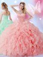 Fine Floor Length Ball Gowns Sleeveless Fuchsia Quinceanera Gowns Lace Up