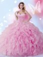 Organza Sleeveless Floor Length Sweet 16 Dress and Beading and Ruffles