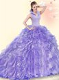 Enchanting Lavender Backless Ball Gown Prom Dress Beading and Ruffles Sleeveless Brush Train