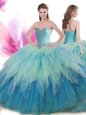 Baby Blue Sweet 16 Quinceanera Dress Military Ball and Sweet 16 and Quinceanera and For with Beading and Ruffles High-neck Sleeveless Backless