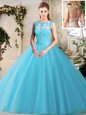 Inexpensive Scoop Sleeveless Lace Up 15 Quinceanera Dress Baby Blue Tulle