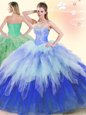 Sweet Ball Gowns Sweet 16 Quinceanera Dress Multi-color Sweetheart Tulle Sleeveless Floor Length Lace Up