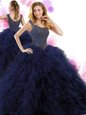 Beautiful Straps Sleeveless Tulle Floor Length Lace Up 15 Quinceanera Dress in Hot Pink for with Beading and Ruffles and Hand Made Flower