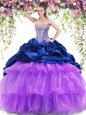 Sophisticated Pick Ups Ruffled Brush Train Ball Gowns 15 Quinceanera Dress Multi-color Sweetheart Organza and Taffeta Sleeveless With Train Lace Up