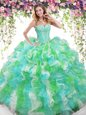 Multi-color Sleeveless Floor Length Beading and Ruffles Lace Up Quinceanera Dress