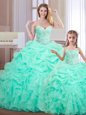 Sumptuous Pick Ups Apple Green Sleeveless Organza Lace Up Sweet 16 Dress for Military Ball and Sweet 16 and Quinceanera