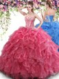 Ball Gowns Sweet 16 Dress Red Sweetheart Organza Sleeveless Floor Length Lace Up
