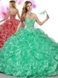 Great Fuchsia Off The Shoulder Lace Up Beading and Ruffles Sweet 16 Dresses Sleeveless
