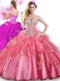 Three Piece Off the Shoulder Fuchsia Sleeveless Floor Length Beading and Ruffles Lace Up Quinceanera Gown