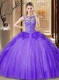 Excellent Purple Scoop Neckline Sequins Ball Gown Prom Dress Sleeveless Lace Up