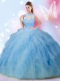 Beading and Ruffles Quinceanera Gown Baby Blue Lace Up Sleeveless Floor Length