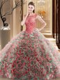 Scoop Multi-color Lace Up Quinceanera Dresses Beading Sleeveless Brush Train
