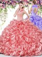 Coral Red Organza Backless High-neck Sleeveless Floor Length Vestidos de Quinceanera Beading and Ruffles