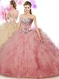 Discount Peach Ball Gowns Beading and Ruffles Sweet 16 Quinceanera Dress Lace Up Tulle Sleeveless Floor Length