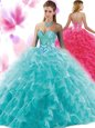Cute Beading and Ruffles Quinceanera Gown Blue Lace Up Sleeveless Floor Length
