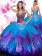 Custom Made Floor Length Ball Gowns Sleeveless Multi-color Quinceanera Dress Lace Up