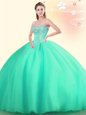 Top Selling Strapless Sleeveless 15th Birthday Dress Floor Length Embroidery and Ruffles Royal Blue Organza