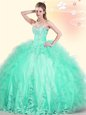 Smart Scoop Apple Green Quince Ball Gowns Tulle Brush Train Sleeveless Beading