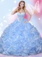 Blue Quinceanera Dresses Military Ball and Sweet 16 and Quinceanera and For with Beading and Pick Ups Sweetheart Sleeveless Lace Up