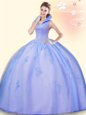 Exquisite Aqua Blue Ball Gowns Scoop Sleeveless Tulle Floor Length Lace Up Beading and Appliques and Ruffles Quinceanera Gowns
