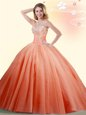 Three Piece Burgundy Ball Gowns Beading 15th Birthday Dress Lace Up Tulle Sleeveless Floor Length