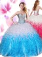 Blue And White Ball Gowns Beading and Ruffles Quinceanera Gown Lace Up Organza Sleeveless Floor Length