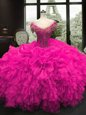 Fuchsia Lace Up Sweetheart Beading and Ruffles Vestidos de Quinceanera Organza Cap Sleeves