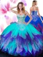 Sleeveless Organza Floor Length Lace Up Quinceanera Dress in for with Beading and Ruffles