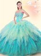 Best Selling Multi-color Sleeveless Tulle Lace Up Sweet 16 Dresses for Military Ball and Sweet 16 and Quinceanera