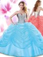 Beading and Pick Ups Sweet 16 Quinceanera Dress Baby Blue Lace Up Sleeveless Floor Length