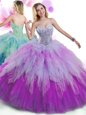 Delicate Multi-color Ball Gowns Beading and Ruffles Quinceanera Gown Lace Up Tulle Sleeveless Floor Length