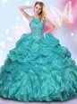 Halter Top Sleeveless Appliques and Ruffles and Pick Ups Lace Up Quinceanera Gown